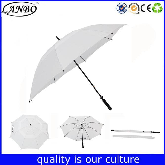 High quality promotional custom logo print white auto golf umbrella