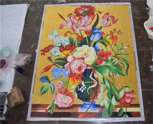 ZF-JH061 vase art glass mosaic tiles mural pattern wall decoration