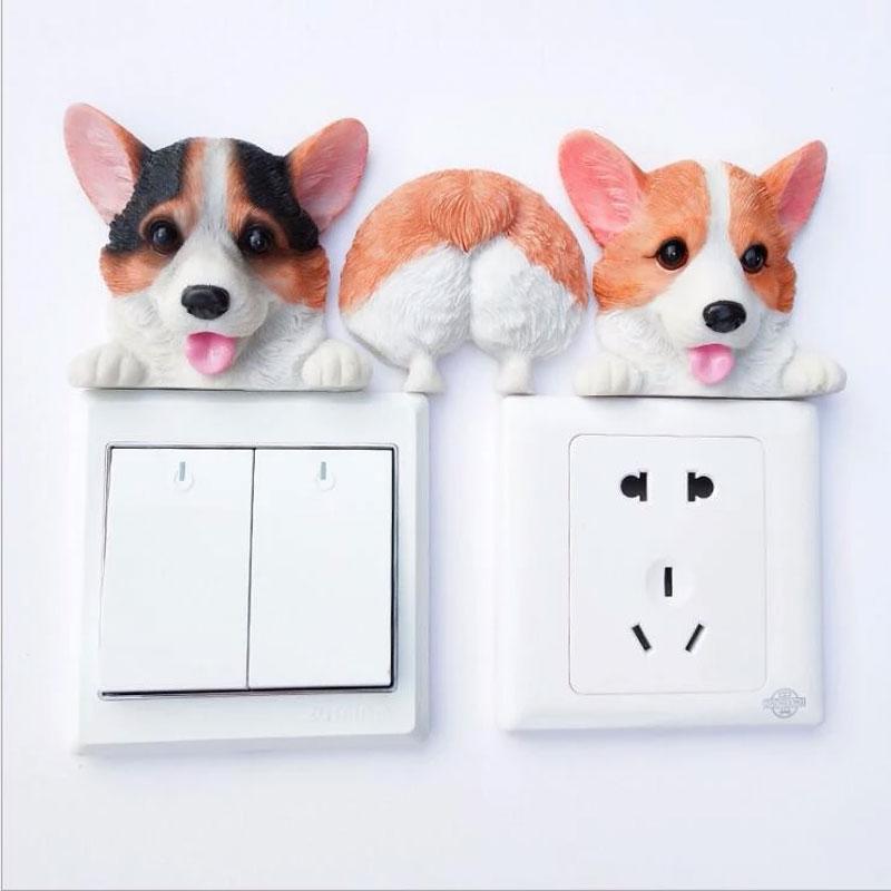 Resin cute corgi dog wall decor decorative Switch plate cover