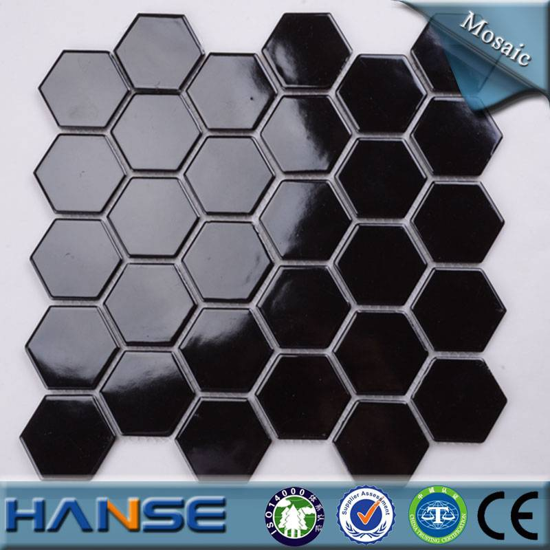 MD023T foshan hexagon black color ceramic mosaic tile