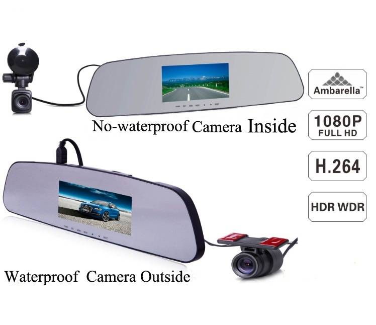 2014 new waterproof 4.3inch LCD a7 ambarella rearview mirror vechicle gps car dvr with full hd dual
