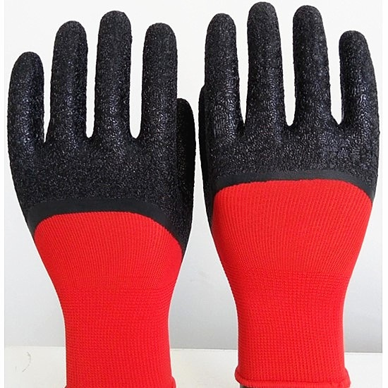 13 Gauge Red Nylon Liner with Black Latex Crinkle Coated Gloves