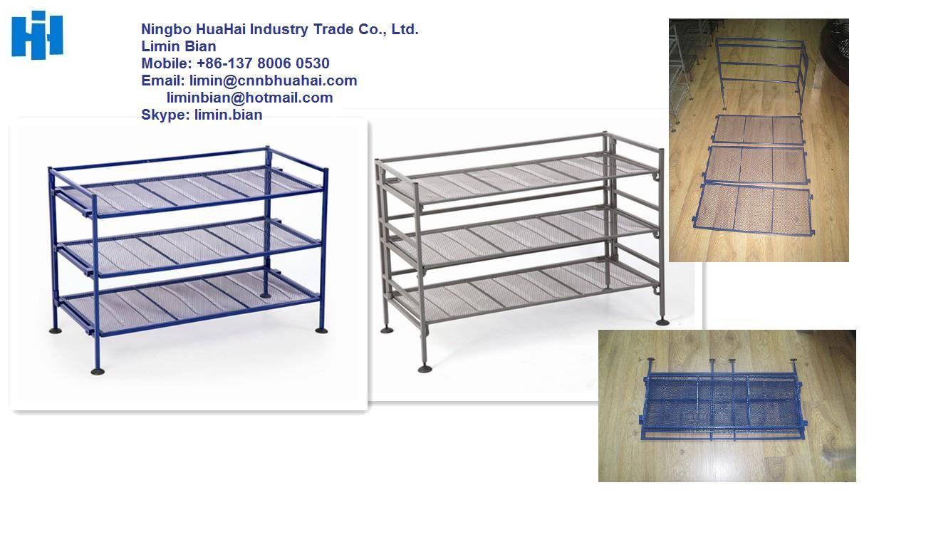 folding metal shoe rack