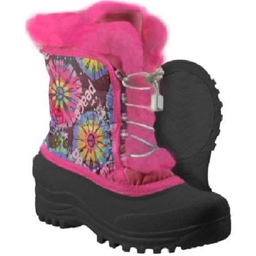 Flower nylon upper snow boots