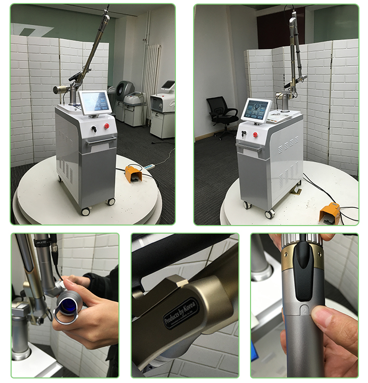 Q-switched nd yag tattoo laser removal machine with delicate design and korea imported light guide