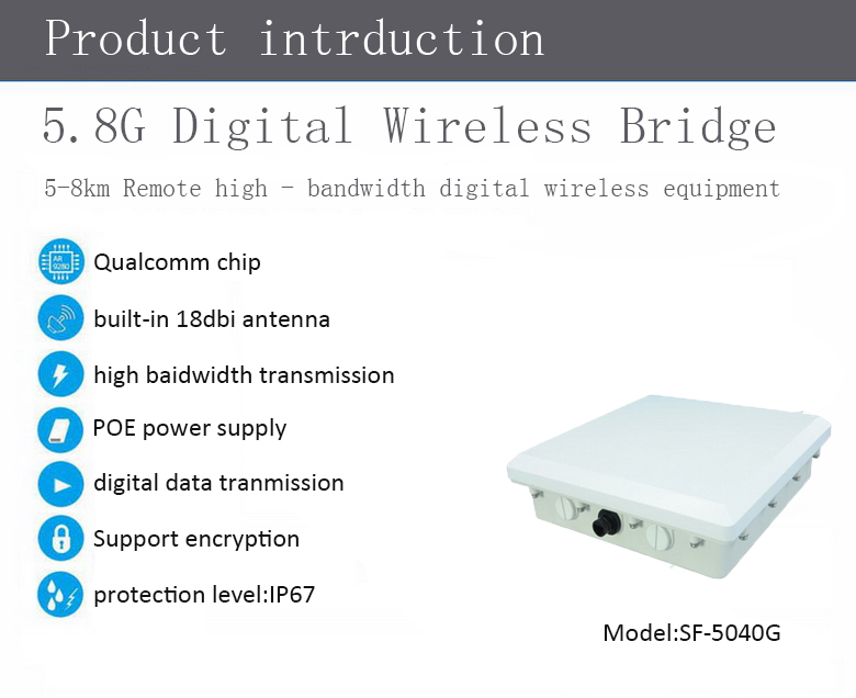 5-8km long-distance high bandwidth digital wireless equipment,wireless microwave transmission