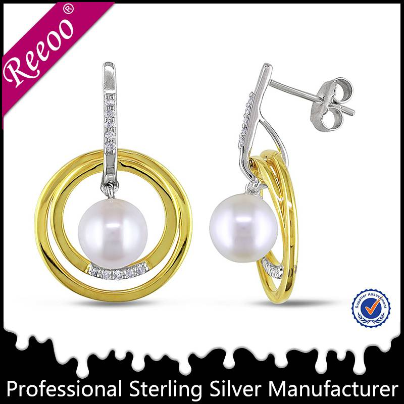 Synthetic pearl earring design silver 925 jewelry