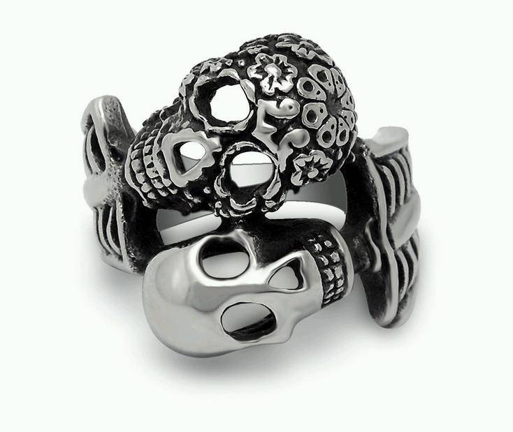 Fashion Stainless Steel Double Skull Womens Ring