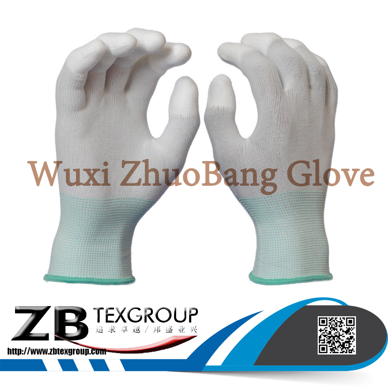 High Quality 13G Nylon Liner White PU Top Palm Fit ESD work Hand Gloves