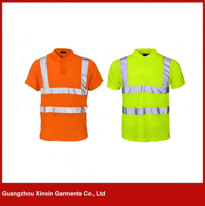 Custom Hi Vis Transport Pique Polo Shirts with Reflective Silver Bands