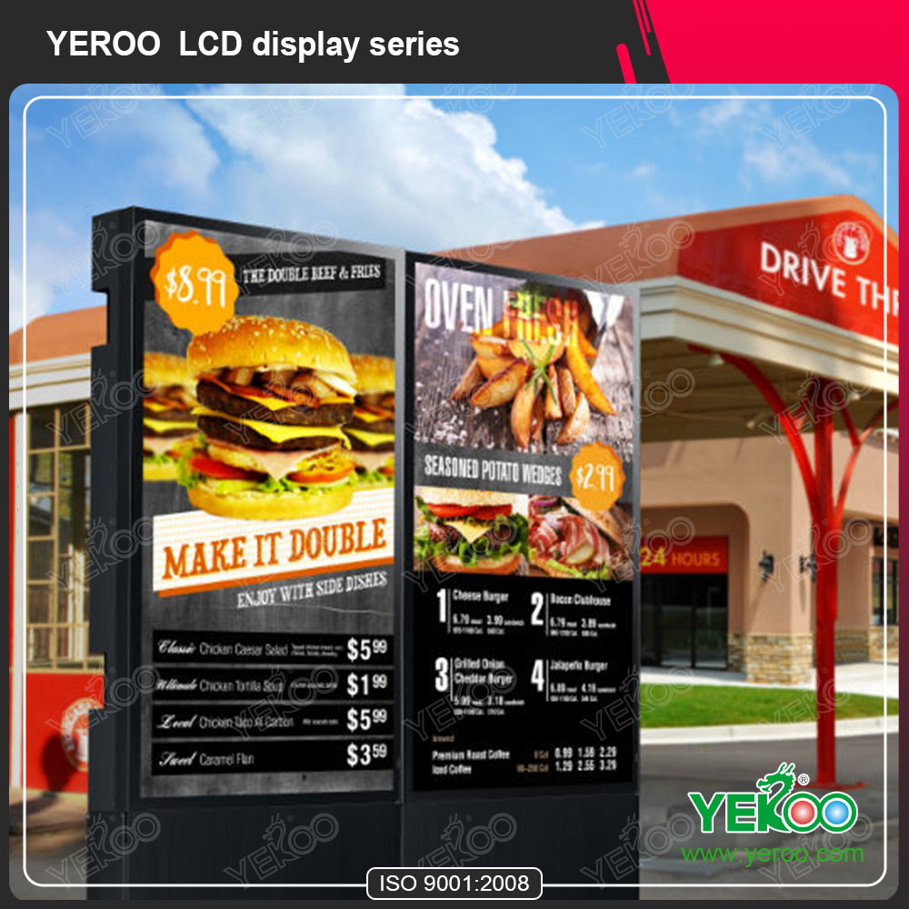 Waterproof sunlight readable digital signage advetising kiosk design