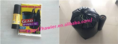 Black plastic garbage bags on Roll
