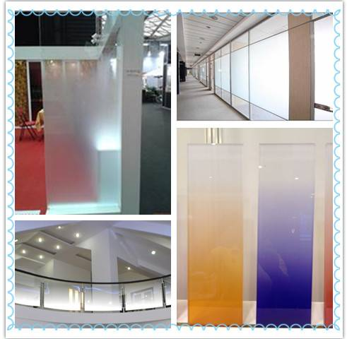 New Patent Color Change Partition Acid Etched Glass
