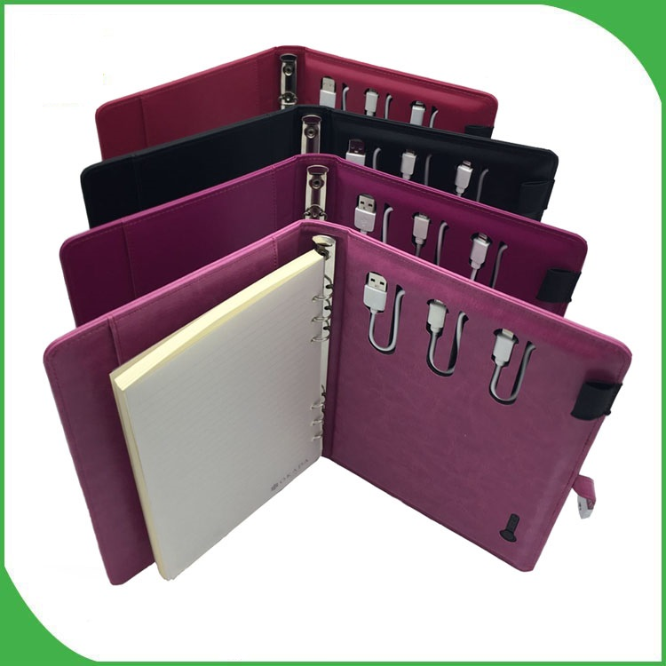 custom leather cover new design good quality 4000aMh power bank notebook with 8GB USB