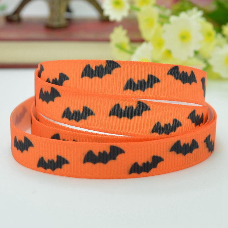 Halloween Bats Cartoon Pattern Printed Grosgrains Ribbons (Orange)