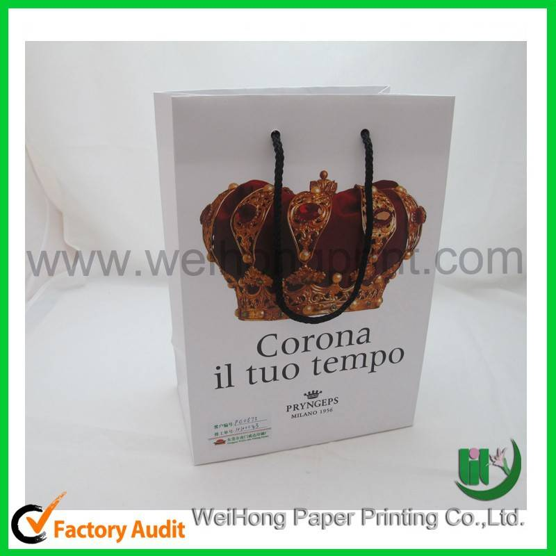 custom printed paper bags with silver/glod/red hot foil