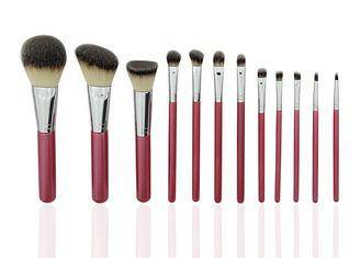 Handmade 12 Pcs Professional Make Up Brush Set With PU Cup Holder Red Color