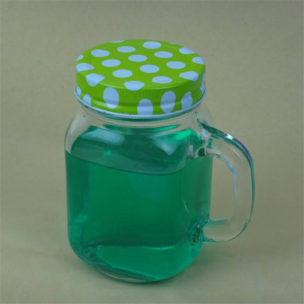 400ml manson glass jar with handle