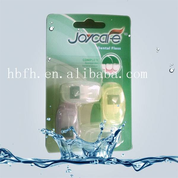four container blister paper card mini round shape dental floss