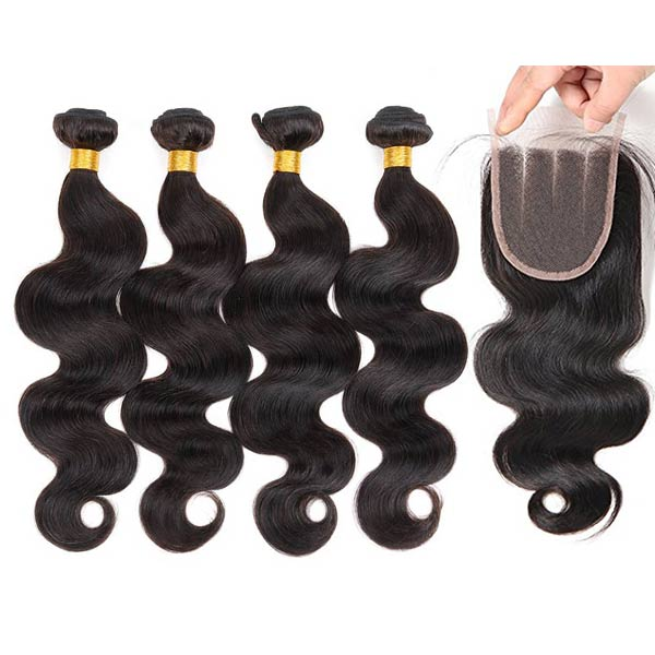 8A Peruvian Body Wave Human Virgin Hair Weave 4 Bundles With Lace Closure