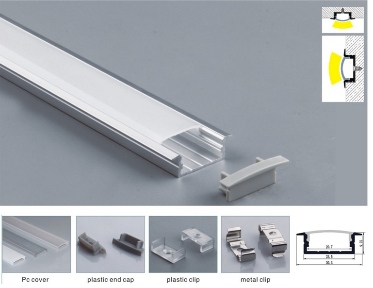 Top Quality Recessed Extrusion LED Aluminium Profile for Led Strip Lights