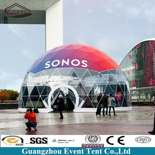New Design Outdoor 15m Diameter Dome Exhibition Transparent Glass Half Geodesic Dome Tent