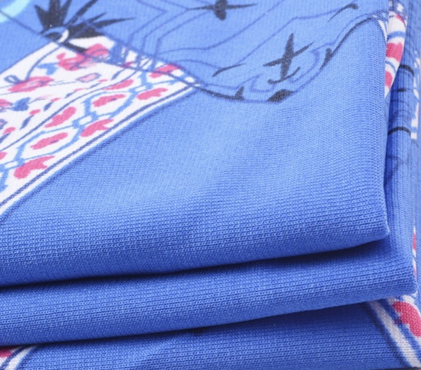 Knitted 96% polyester 4% spandex stretch ITY printed jersey fabric