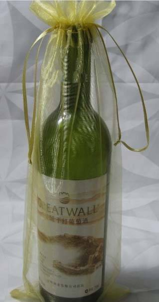 organza drawstring wine bag