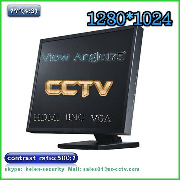 17inch 4:3 175 degrees view angle cctv monitor with BNC, VGA, HDMI INPUT