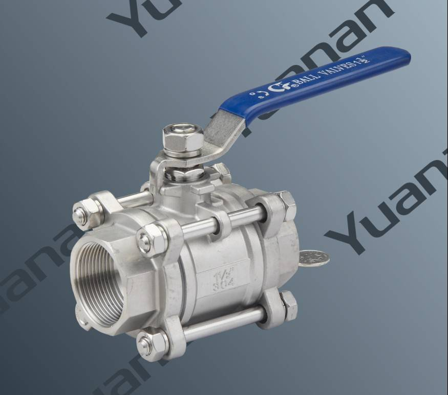 Sanitary three piece ball valve