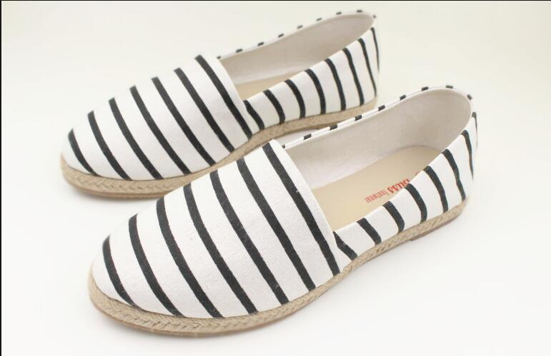 Black and White Striped Espadrilles Flat Casual Shoes for Woman