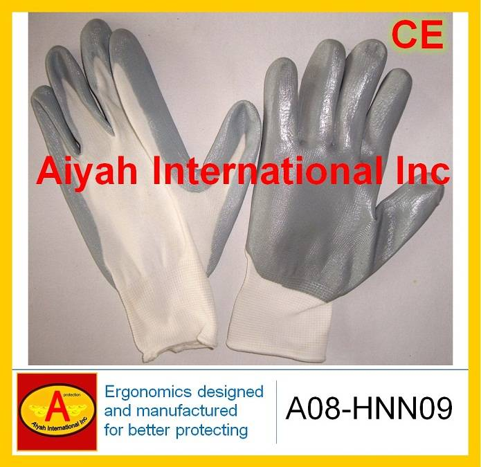 Nylon liner with Nitrile Plam Coated Safety Glove(A08-HNN09)