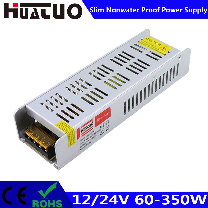 12/24V 60-350W constant voltage slim non waterproof LED power supply