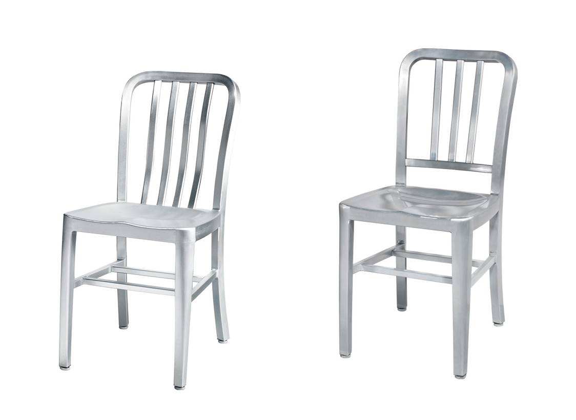 TW1004,TW1005 Brushed Anodized Navy Aluminum Side Chairs