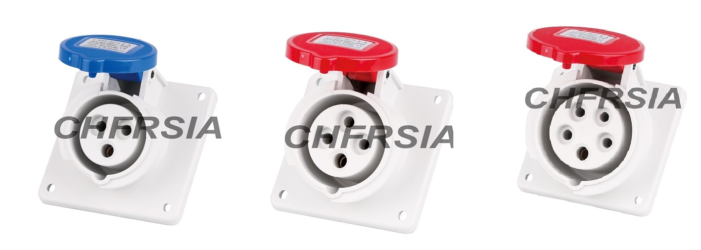 New generation Panel mounting industrial socket(angle) 3P 4P 5P IP44