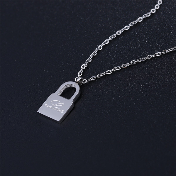 Stainless steel necklace lock pendant