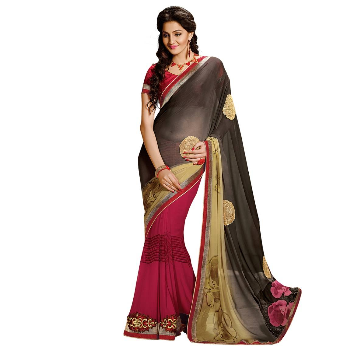 Shonaya Gray & Pink Colour Georgette Embroidered Sarees With Blouse PieceSGDN2-4864