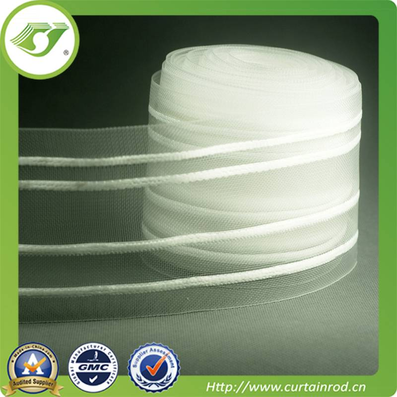 Hot sell Polyester Fabric White Plastic Head Accessories Curtains Pleat Tape
