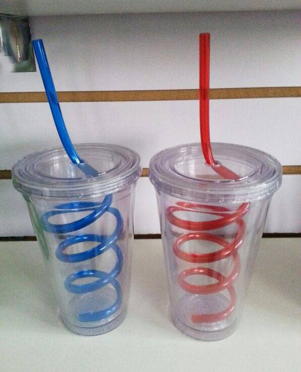 5% discount 16OZ/20OZ/24OZ PS tumbler with crazy straw