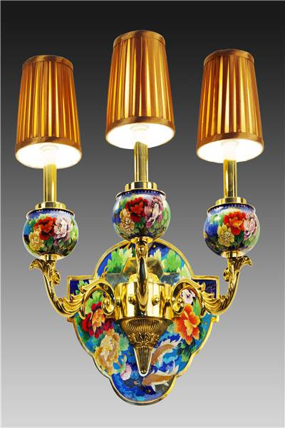 """Fish Pursuit for Richness"" Cloisonne Wall Lamp"