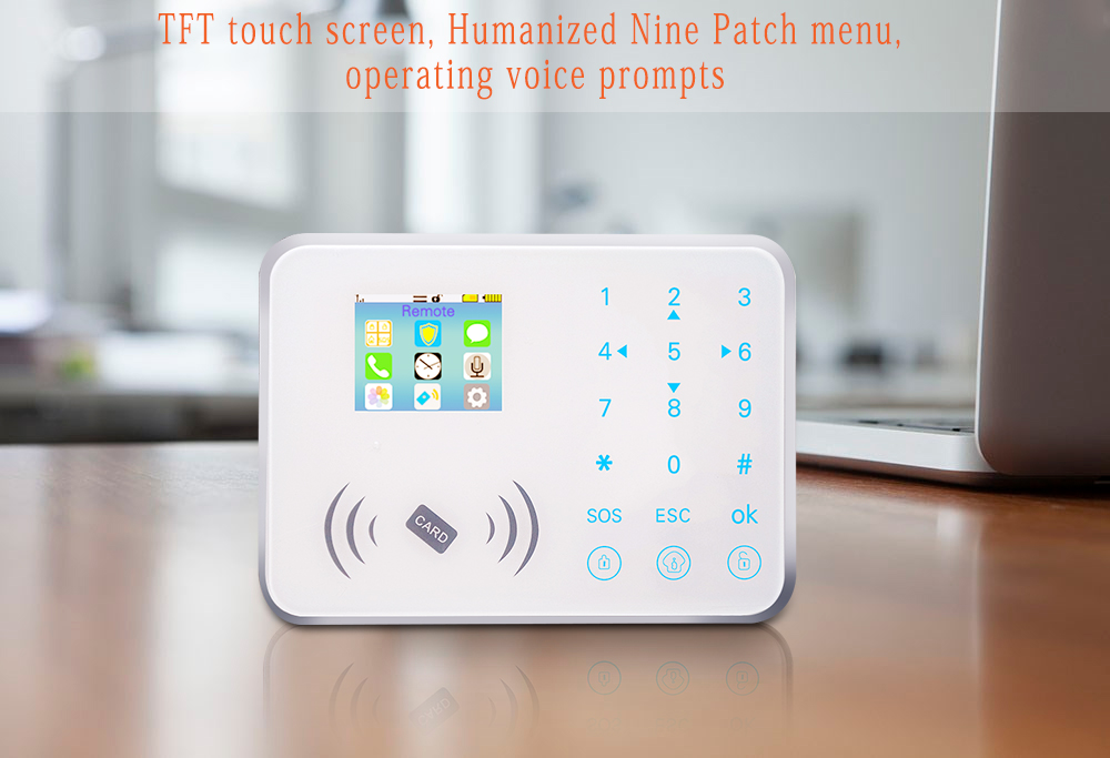 1200Ma built in battery GSM Smart home security alarm system with TFT full touch BL-CG08