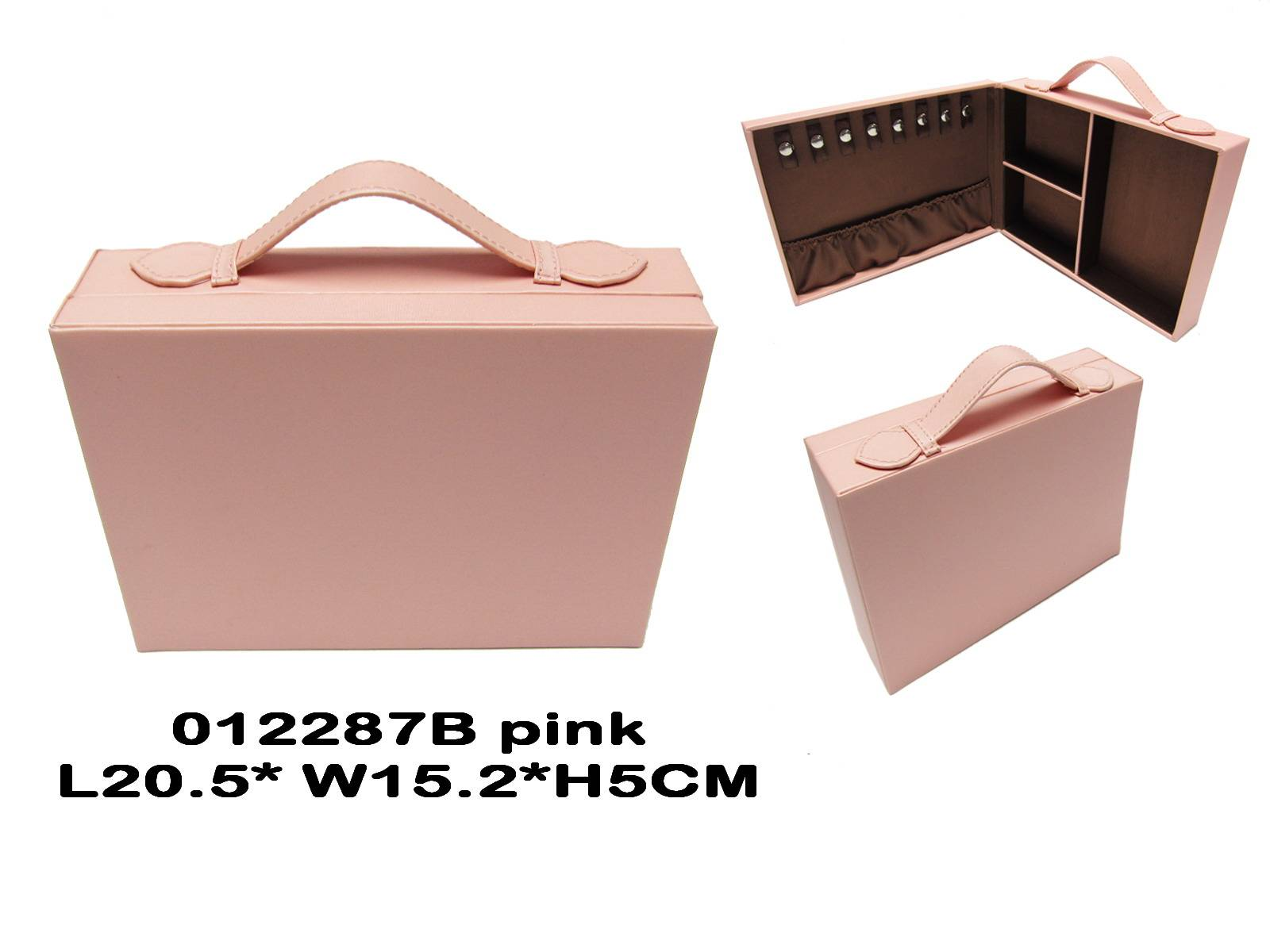 Square fabric travel jewelry box in pink, NEW!