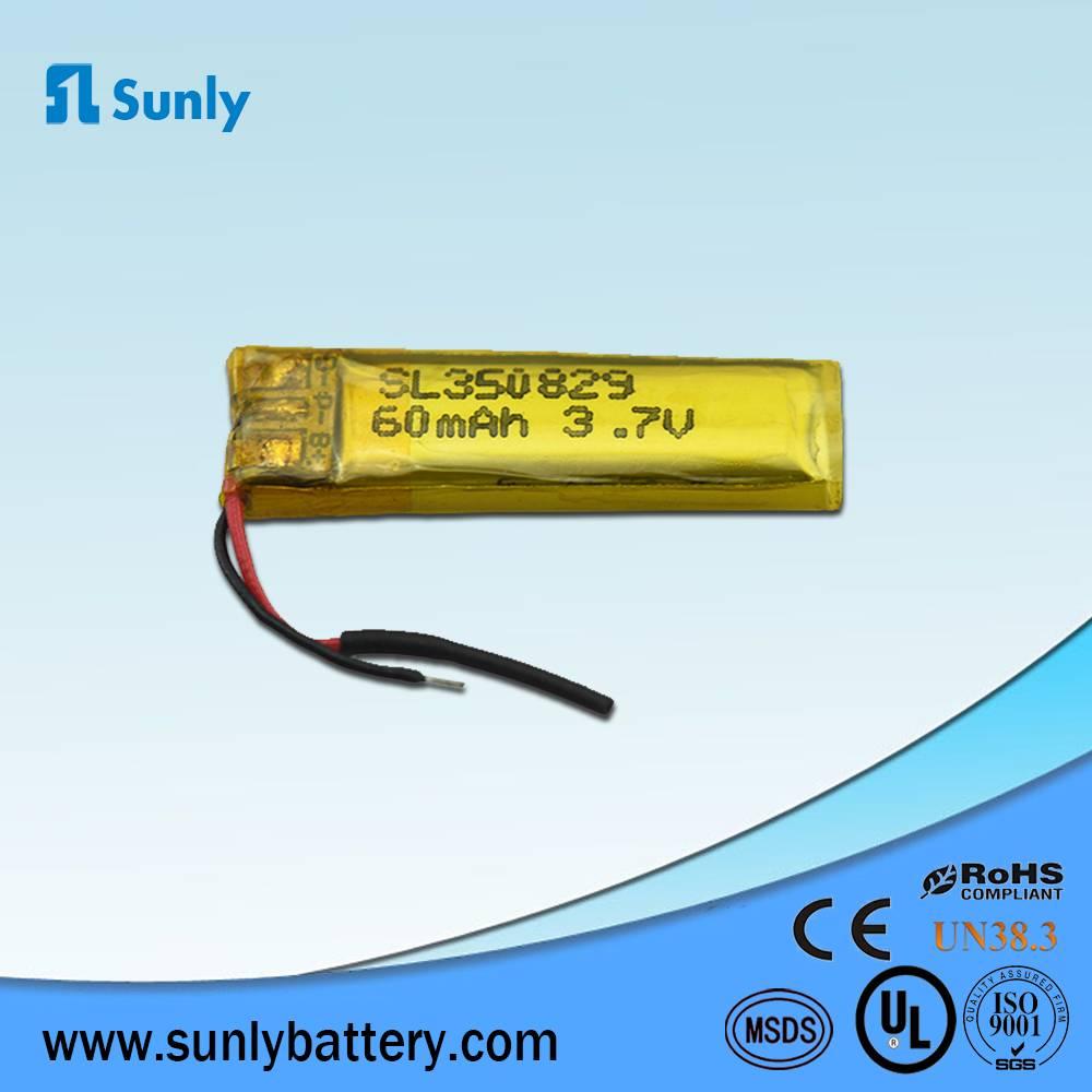 Model 350829 li-ion battery 3.7V 60mAh lithium ion battery