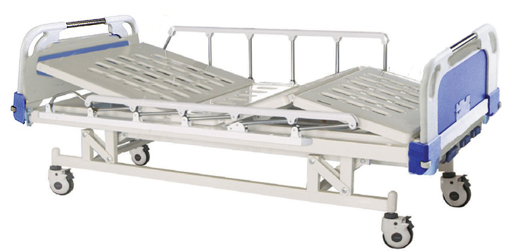 ABS medical bed, manual hospital bed with wood head