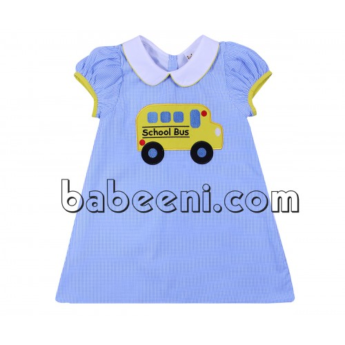 Bus applique girl A-line dress for back to school