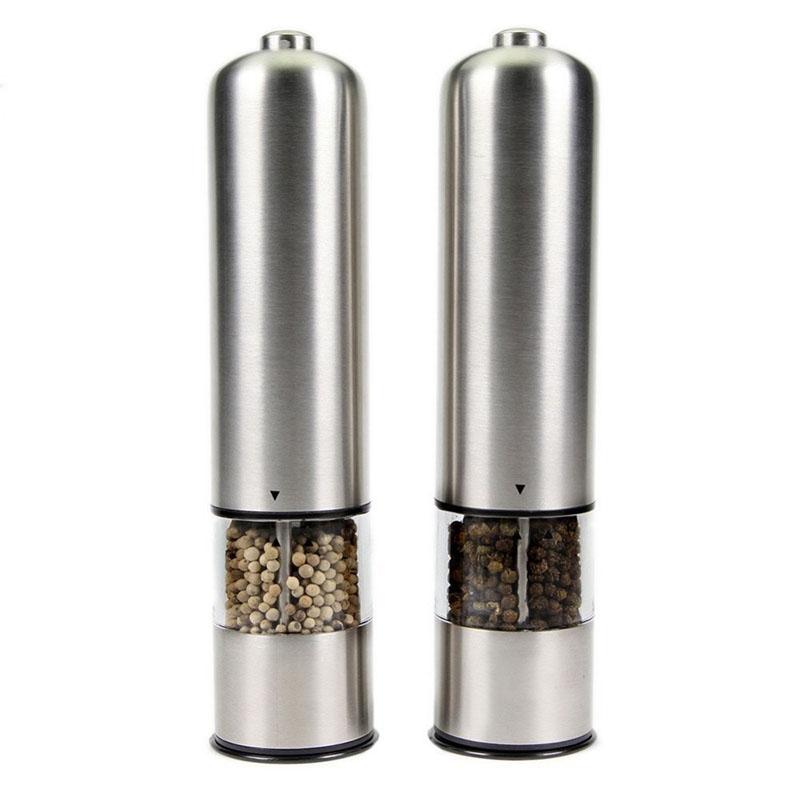 Premium Electric Salt And Pepper Grinder Set Stainless Steel Salt Pepper Grinder