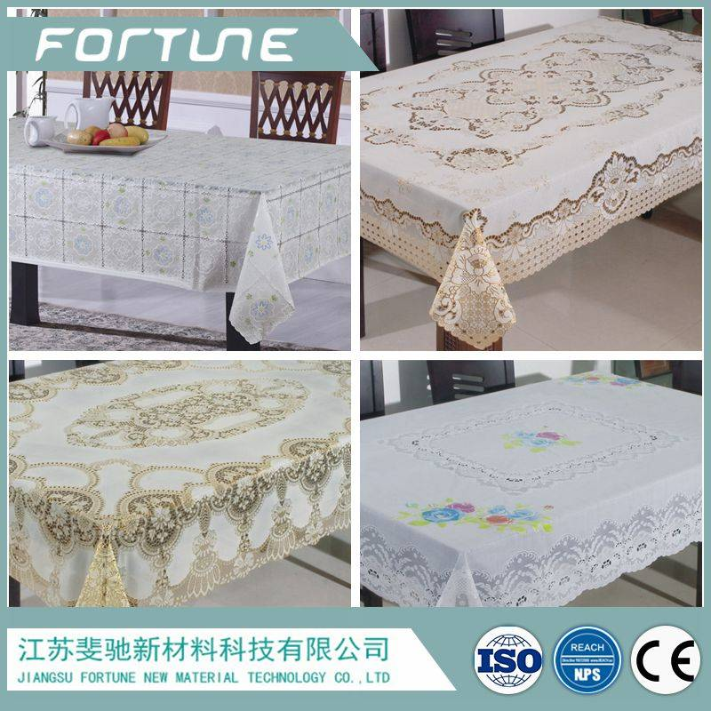 pvc table cloth lace edge white factory supply