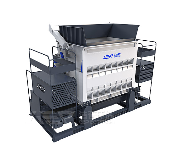 Solide waste shredder, Single-shaft shredder