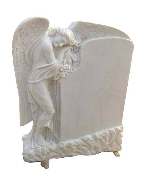 white marble angel wing factory direct headstones