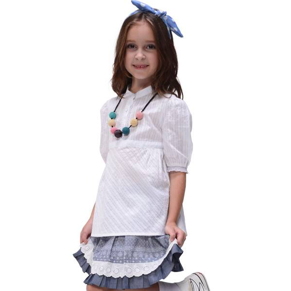2013 girls spring-summer shirt,Pure cotton white shirt with puff sleeve